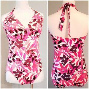 Lands End Floral  Halter 1 piece swim suit